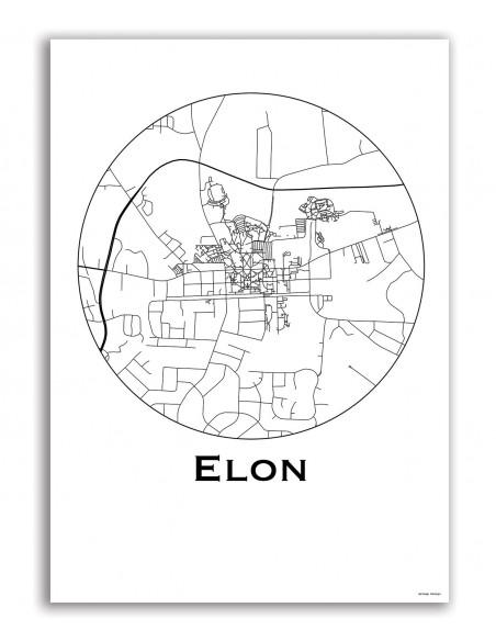 Affiche Poster Elon USA Minimalist Map
