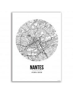 Affiche Poster Nantes France Street Map blanc