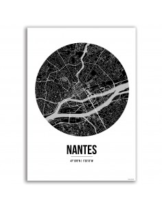 Affiche Poster Nantes France Street Map