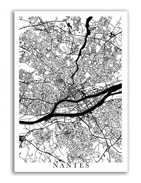 Affiche Poster Nantes France Unicolor Map