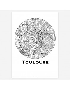 Affiche Poster Toulouse France Minimalist Map