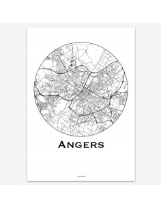 Affiche Poster Angers France Minimalist Map