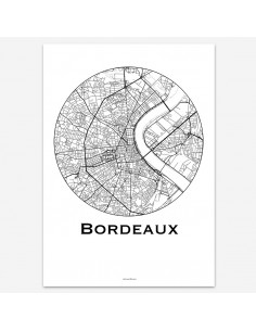 Affiche Poster Bordeaux France Minimalist Map