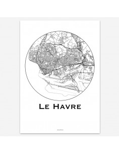 Affiche Poster Le Havre France Minimalist Map