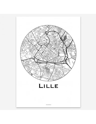Affiche Poster Lille France Minimalist Map