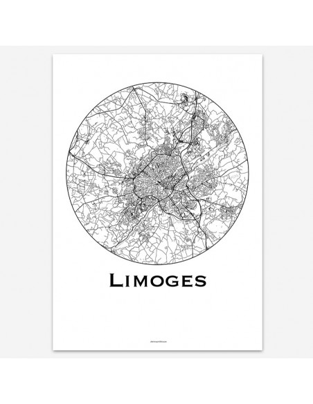 Affiche Poster Limoges France Minimalist Map