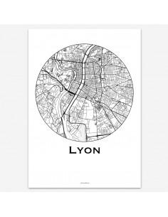 Affiche Poster Lyon France Minimalist Map