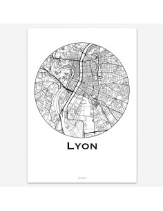 Poster Lyon France Minimalist Map