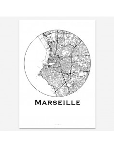 Affiche Poster Marseille France Minimalist Map