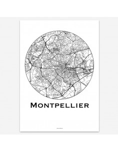 Affiche Poster Montpellier France Minimalist Map