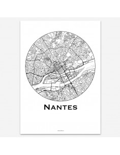 Affiche Poster Nantes France Minimalist Map