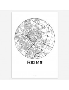 Affiche Poster Reims France Minimalist Map