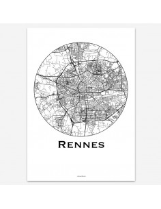Affiche Poster Rennes France Minimalist Map