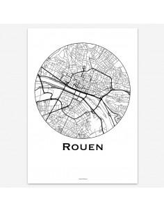 Affiche Poster Rouen France Minimalist Map
