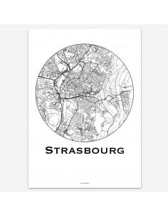 Affiche Poster Strasbourg France Minimalist Map
