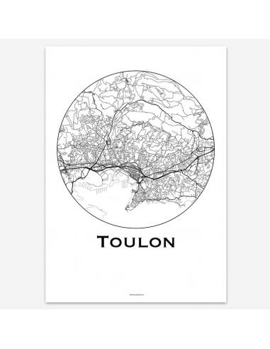 Affiche Poster Toulon France Minimalist Map