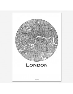 Affiche Poster Londres Angleterre Minimalist Map
