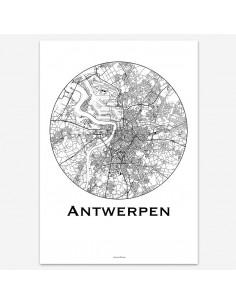 Affiche Poster Anvers Belgique Minimalist Map