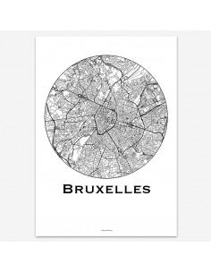 Affiche Poster Bruxelles Belgique Minimalist Map