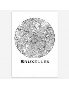 Poster Brussels Belgium Minimalist Map