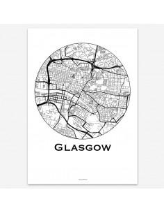Affiche Poster Glasgow Ecosse Minimalist Map