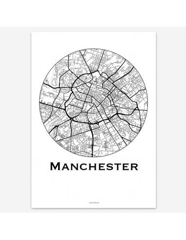 Affiche Poster Manchester Angleterre Minimalist Map