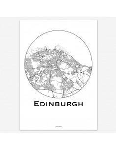 Affiche Poster Edimbourg Ecosse Minimalist Map