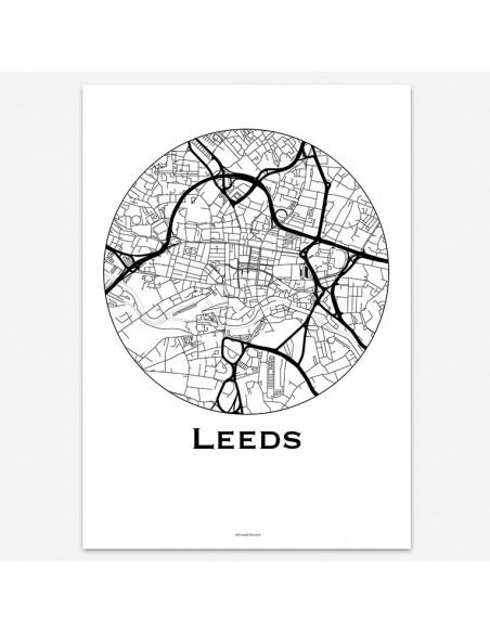Affiche Poster Leeds Angleterre Minimalist Map