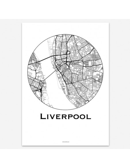 Affiche Poster Liverpool Angleterre Minimalist Map