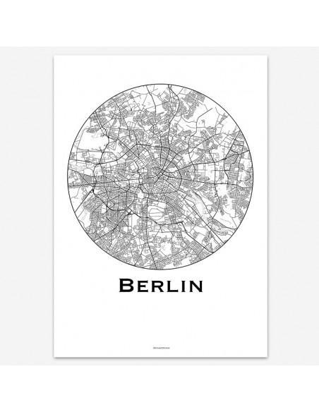 Affiche Poster Berlin Allemagne Minimalist Map
