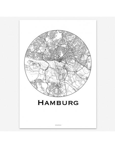 Affiche Poster Hambourg Allemagne Minimalist Map