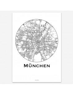 Affiche Poster Munich Allemagne Minimalist Map