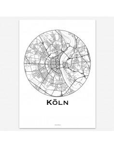 Affiche Poster Cologne Allemagne Minimalist Map