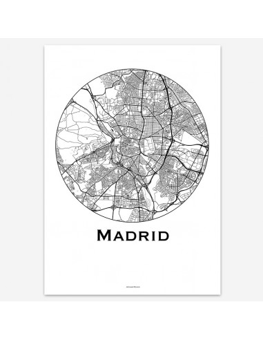 Affiche Poster Madrid Espagne Minimalist Map