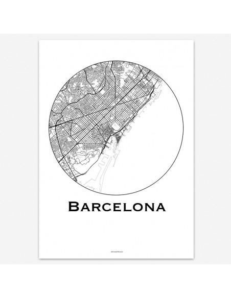Affiche Poster Barcelone Espagne Minimalist Map