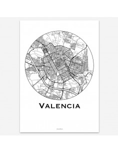 Affiche Poster Valence Espagne Minimalist Map