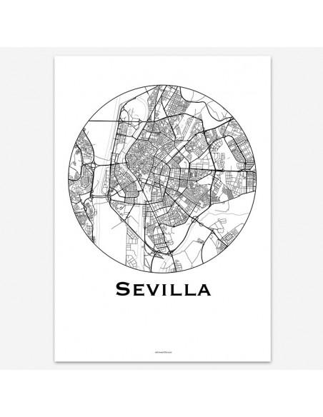 Affiche Poster Séville Espagne Minimalist Map