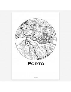 Affiche Poster Porto Portugal Minimalist Map