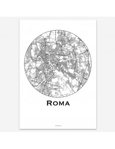 Affiche Poster Rome Italie Minimalist Map