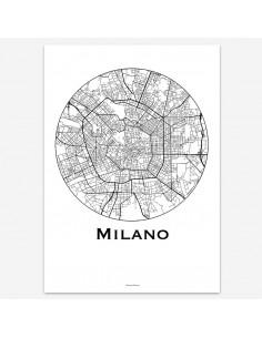 Affiche Poster Milan Italie Minimalist Map