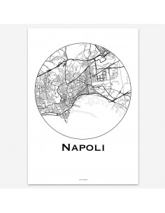 Affiche Poster Naples Italie Minimalist Map