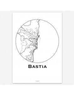 Affiche Poster Bastia France Minimalist Map