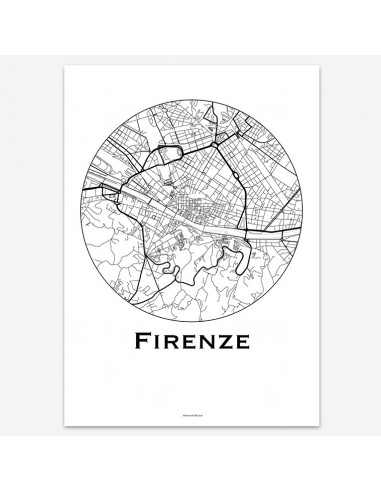 Affiche Poster Florence Italie Minimalist Map