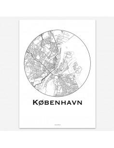 Affiche Poster Copenhague Danemark Minimalist Map