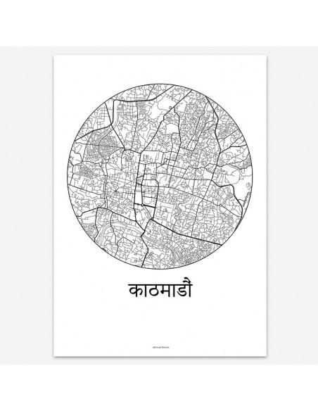 Affiche Poster Katmandou Népal Minimalist Map