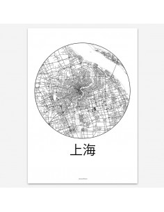 Affiche Poster Shanghai Chine Minimalist Map