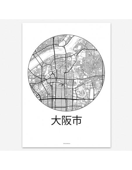 Poster Osaka Japan Minimalist Map