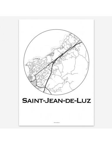 Affiche Poster Saint-Jean-de-Luz France Minimalist Map