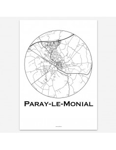 Affiche Poster Paray-le-Monial France Minimalist Map