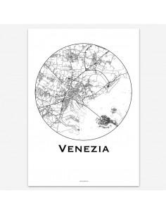 Affiche Poster Venise Italie Minimalist Map